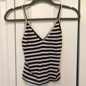 Brandy Melville Navy and White Striped Crop Top